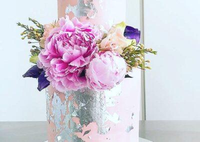 Pink Foil 2 tier cake