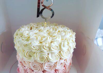 Pink and Cream Rose Cake